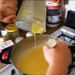 Pour egg and pudding mixture back into the pudding.