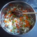 Saute veggies in olive oil.